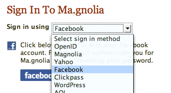 Ma.gnolia used a dropdown of common providers